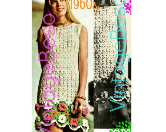 Dress Crochet Pattern • Vintage 1960s Chic Flower • Boho Hippie Mini Flower Power Sleeveless • Sweet and Sassy Dress • Watermarked PDF Only