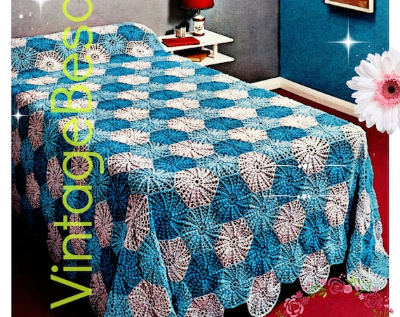 Afghan Crochet PATTERN • Vintage 1960s Single Bedspread Similiar to Granny Square Pattern Piece by Piece VintageBeso • Watermarked PDF Only