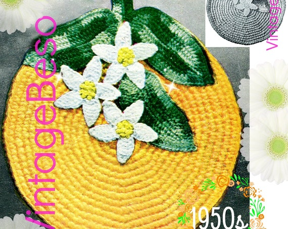 Potholder Crochet Pattern • Orange Blossom • Flowers Leaves • Vintage 1950s • Kitchen Supplies • Quick Crochet Gift • Watermarked PDF Only