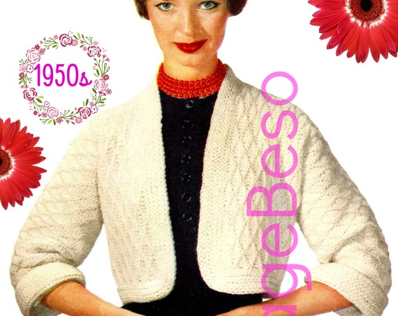 Jacket Crochet Pattern • Madison Crop Jacket • Vintage 1950s CROCHET Pattern • Crocheted Chunky to Wear for Many Ocassions • PDF Pattern
