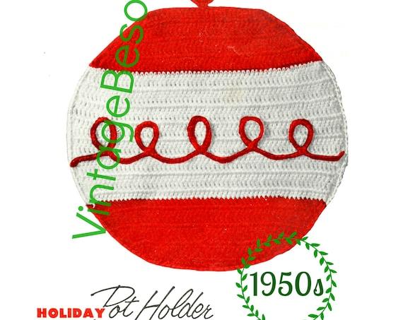 Ornament Potholder CROCHET Pattern • PdF Pattern • Vintage 1950s • Digital Pattern • Retro Holiday Potholder • Gift