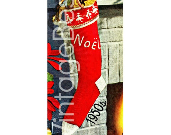 Instant Download • NOEL Stocking Knitting Pattern • Vintage Knit Christmas • 1950s Vintage Knitting Pattern • Retro Boy Girl
