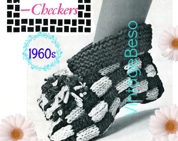 Slippers Knitting Pattern • Checkers Slippers • Woman's Slippers • Knitted Lady's Slippers • 1960s Vintage • DIGITAL Pattern • PdF • Retro