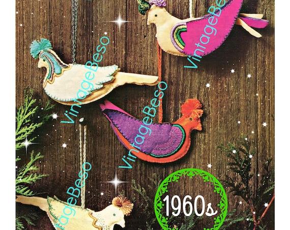 Birds Sewing Pattern • Vintage 1960s SEWING Pattern • Felt Christmas Plumed PARTRIDGEs Sewing Pattern Birds in Flight • PDF Pattern Only
