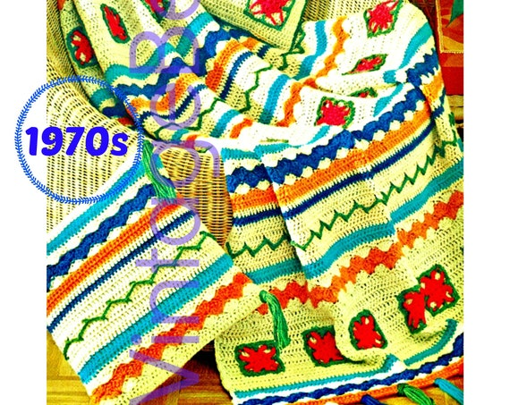 """EASY Afghan CROCHET Pattern + Pillows Crochet Pattern • Retro Folkways Set • 42"""" x 60"""" with Cheery Fringe • Instant Download • PDF Pattern"""