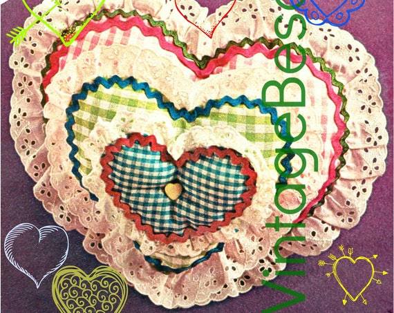 Heart SEWING Pattern • Retro 1970s Pillow • PDF Pattern • Vintage Valentine's Day Holiday • Digital Pattern • XoxO • Gift