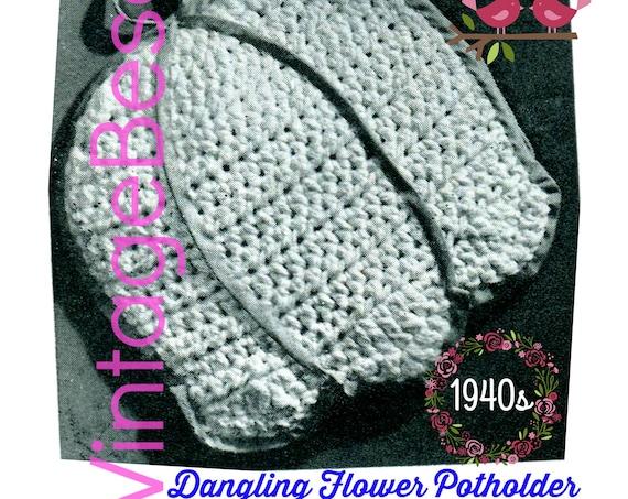 Potholder CROCHET Pattern • PDF • Vintage 1940s Dangling Flower • Lily of the Valley • Crochet a Bell Shaped Flower Potholder