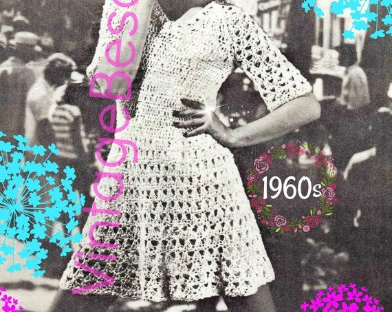 Dress Crochet Pattern • Lace Dress • Vintage 1960s • Summer Sass for Sexy Lady • UK Crochet Pattern • Digital Pattern • PDF Pattern