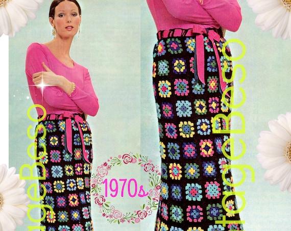 Granny Square Maxi Skirt Crochet Pattern • Maxi Skirt • Long Short 1000 Flowers • Millefleurs Granny Square Skirt • Watermarked PDF Only