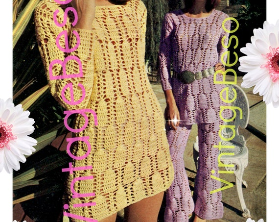 Dress Crochet PATTERN + Matching Pants Crochet Pattern • Vintage 1960s • Sexy and Fun Peekaboo • Easy to Wear Fashion • Watermarked PDF Only