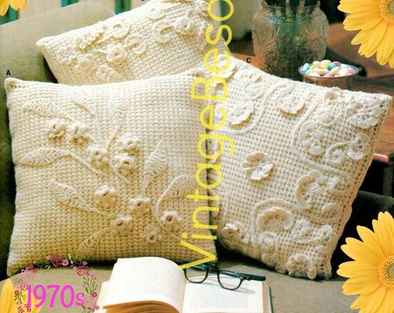 Pillow Crochet Pattern • Vintage 1970s Flower Pattern • Pillow Cover Pattern • Bohemian Decor • Housewarming • Watermarked PDF Only
