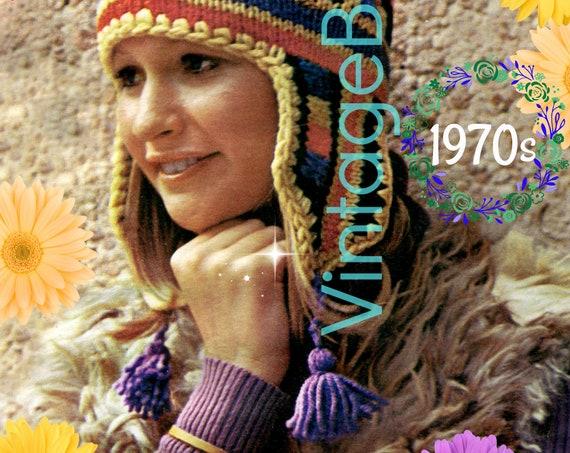Cap KNITTING Pattern • 1970s Peruvian Cap Knit Pattern • Traditional Cap with 3 Tassels • Fun and Feminine • INSTANT Download • PDF Pattern
