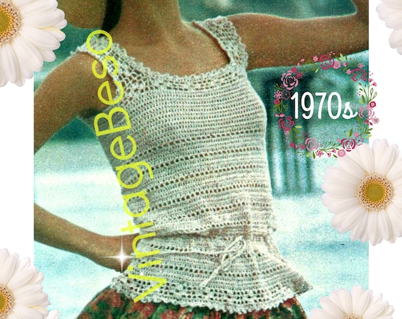 Top Crochet Pattern • Vintage 1970s Camisole Crochet Pattern • True Summer Classic • Drawstring Waist Bohemian Top • Watermarked PDF Only