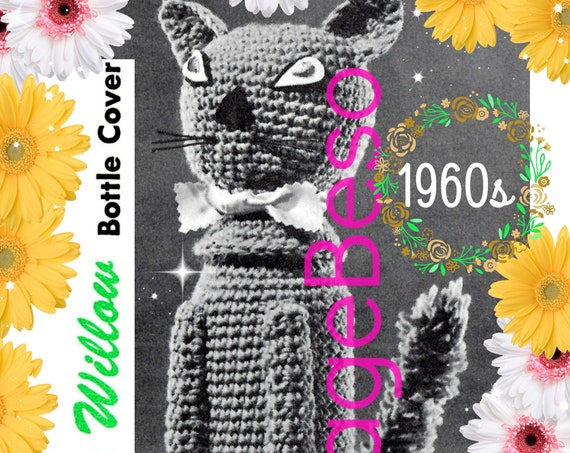Cat Bottle Cover CROCHET Pattern • Vintage 1960s • RARE Cat Bottle Cover • Unique Cat Lover Gift • near Mad Men era • Watermarked PDF Only