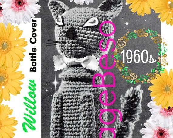 Cat Bottle Cover CROCHET Pattern • Vintage 1960s • RARE Cat Bottle Cover • near Mad Men era • Cat Hostess Gift • Watermarked PDF Only