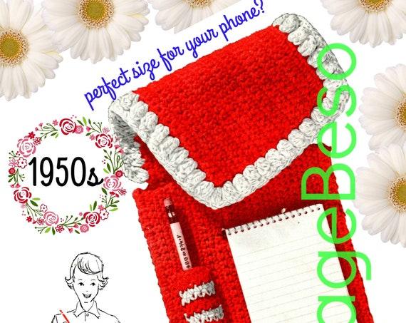 Case Crochet Pattern • PDF • Retro 1950s Notepaper Pencil Case • Instant Download • PDF Pattern • Digitial Download