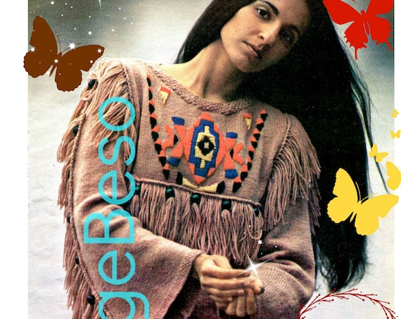 Tunic Knitting Pattern • Respectful Native American Palomino Tunic • KNIT then EMBROIDER Retro 70s Top • Thanksgiving • Watermarked PDF Only