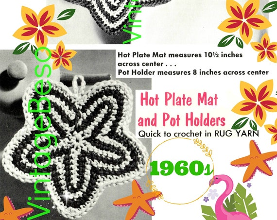 Potholder Crochet Pattern • Starfish or Tropical Flower • Vintage 1960s • Kitchen Supplies • Quick Crochet Gift • Watermarked PDF Only