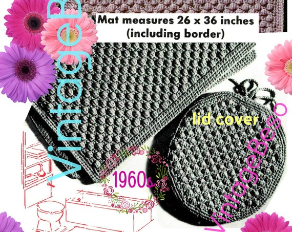 Rug Crochet Pattern + Lid Cover Crochet Pattern • PDF • Retro 1960s Bathroom Set • Toilet Seat LId Cover Crochet Pattern • Pebbles Pattern