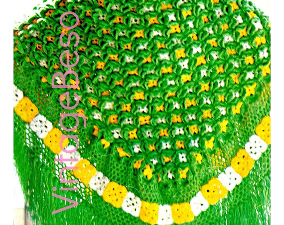 Ladies SHAWL Crochet PATTERN • Instant Download • Vintage 1970s Green Grows Shawl Crochet Pattern Motif Bohemian Clothing • PDF