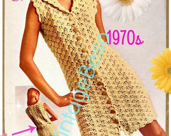 Rare Dress Crochet Pattern • Vintage 1970s Ladies Summer Wear is a Delightful SCALLOP DRESS • Watermarked PDF Only
