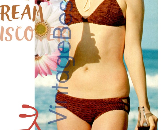 French Peekaboo Bikini Crochet Pattern • Vintage 1970s Bikini Crochet Pattern • Two Piece Swimsuit Crochet PATTERN • Watermarked PDF Only