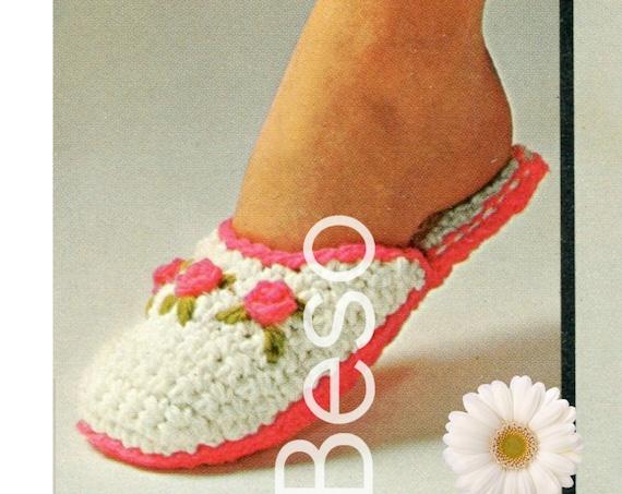 3 Vintage Crochet Pattern 1970s Rosebud Scuffs Buckle Pilgrim Slipper Ancient Greek Sandals House Thong Sandals • Watermarked PDF Only