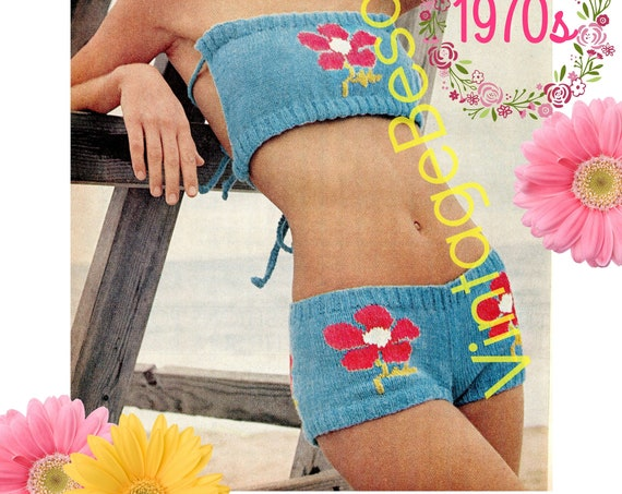 Bikini Knitting Pattern • Vintage Wide Band Flower Bikini • Knitted Swimsuit + Free 60s Classic Afghan Granny Squares • Watermarked PDF Only