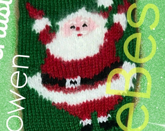 "Knit Christmas ""SANTA STOCKING"" • PDF Pattern • Instant Download • Noel Stocking • 20 inches King Size • Classic Christmas Stocking Pattern"