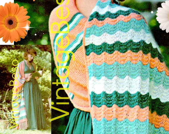 "Zerape Shawl KNITTING Pattern • Serape 98"" • DIGITAL Pattern • PDF • 1970s Vintage Striped Shawl • Adapted from Old Mexican Design"