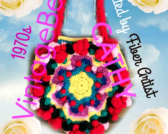 Boho Bag Crochet PATTERN • 1970s Vintage RARE 70s Original Pattern Hard to Find Club Hippie Boho Festival Purse Party • Watermarked PDF Only