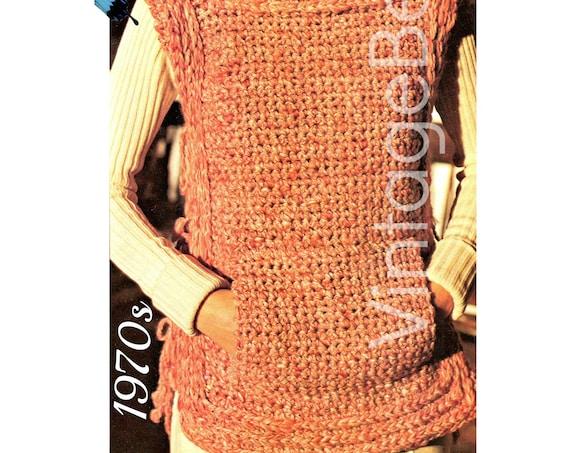 Tabard Crochet Pattern • Vintage 1970s • Tweedy Tabard with Front Pouch Pocket Crochet Pattern VintageBeso • Watermarked PDF Only