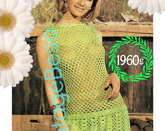 Dress Crochet Pattern • Ladies Green Dress CROCHET • Vintage 1960s • Dress Pattern • Fast Crochet Fishnet • Watermarked PDF Only