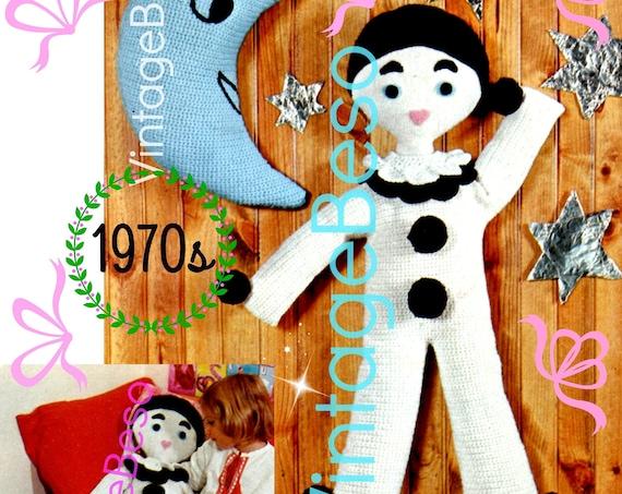 2 EASY Crochet Pattern • Gentle Pierrot CROCHET Pattern + Moon Pattern • Worked in Single Crochet • Vintage 1970s • Watermarked PDF Only