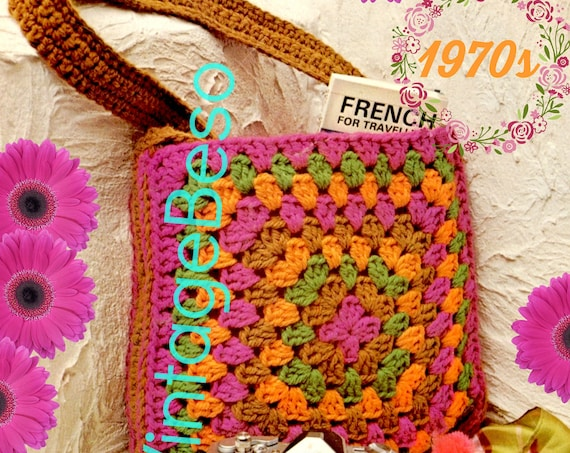 "Granny Bag CROCHET Pattern • Vintage 1970s • Boho Granny Square Bag • Hold Everything Bag • Great ""Grab and Go"" Bag • Watermarked PDF Only"