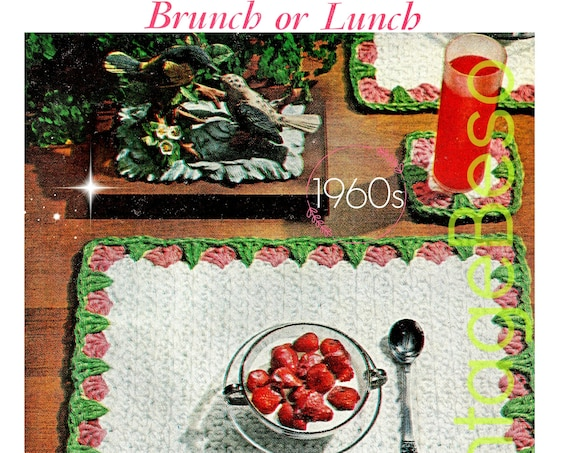 EASY Placemat + Coaster Crochet Pattern • Retro Strawberry • 1960s Brunch Set • Retro Boho Home Decor • Valentine's Day • PDF Only