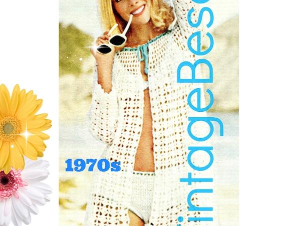 3 Crochet Pattern • Bikini Top + Bikini Bottom + Beach Coat 1970s Vintage Swimsuit Ladies Bra Top Panty Brief • Watermarked PDF Only