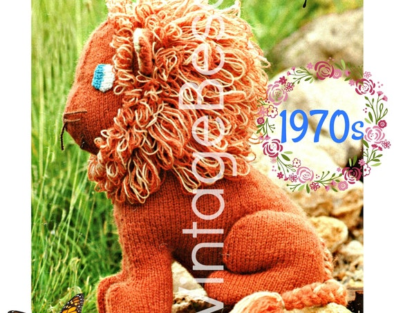 Lion KNITTING Pattern • Vintage 70s Cecil the Lion Big 14 inch Tall Cuddly Leo the Lion Wild Animal Playschool Nursery Watermarked PDF Only