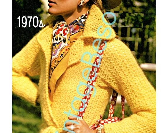 Yellow Wrap Coat Crochet Pattern • Vintage Crochet Pattern • 1970s Ladies Stylish Chic Sleek Sassy Saturday Lady • Watermarked PDF Only