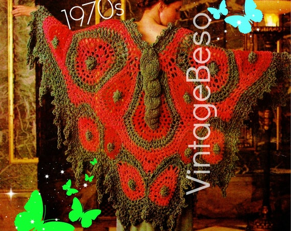 CROCHET Pattern • Unique Big Butterfly Shawl Crochet Pattern • Vintage 1970s • Butterfly Butterfly Don't Fly Away • Watermarked PDF Only