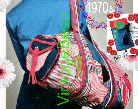 """Bag SEWING PATTERN • Vintage 70s Carry All Barrel Bag + Free Gift • Sewing Pattern • 21"""" x 10"""" Roomy Tote with Pocket • Watermarked PDF Only"""