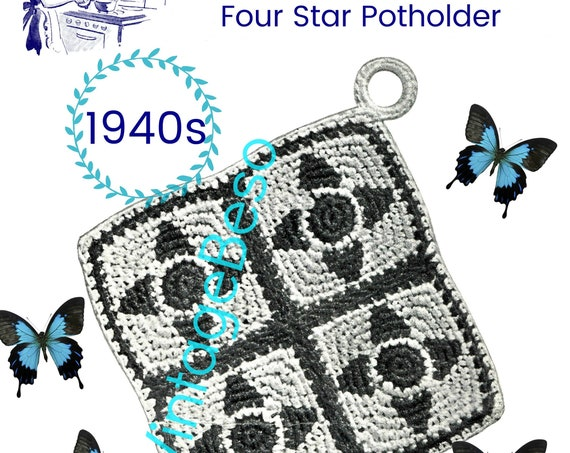 Four Star Potholder • Potholder Crochet Pattern • Vintage 1940s Crochet Pattern • Use Double Thread throughout • Watermarked PDF Only