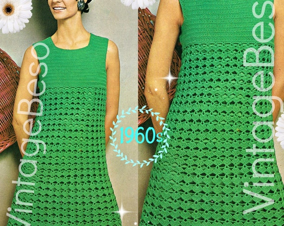 Dress Crochet Pattern • Vintage 1960s Summer Peekaboo Dress • Crochet Pattern • Simply Dishy Dress • Mod • Sleeveless • Watermarked PDF Only