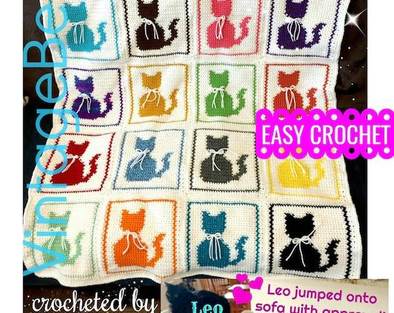 Easy Cat Afghan Crochet PATTERN • Cat Pillow Pattern • Vintage Single Crochet • Meow Love Crochet Kitty • Cat Blanket • Watermarked PDF Only