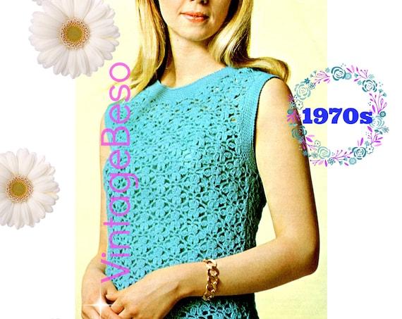Top Crochet Pattern • 1970s Vintage Crochet Pattern • Instant Download • PDF • Summer Flower Blue Sleeveless Top • Ladies Clothing