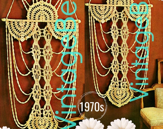 Wall Hanging CROCHET Pattern • Rare Hard to Find LOOKS LIKE Macramé • 1970s Vintage Mail Order Only • Lovingly EnLARGED Print and Diagrams