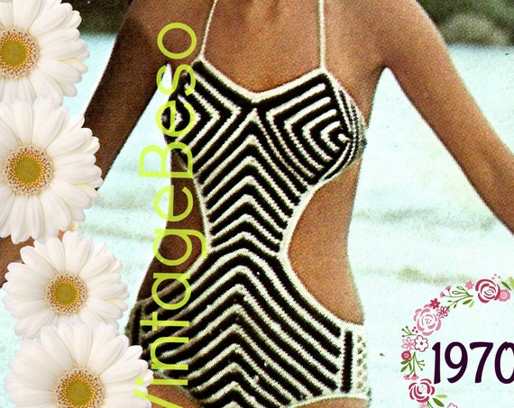 Sexy Monokini CROCHET Pattern • Vintage 1970s Bathing Suit • Swimsuit • Maillot • One Piece • Swimwear • VintageBeso • Watermarked PDF Only