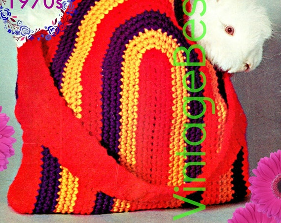 EASY Bag Crochet Pattern • Vintage 1970s Half Oval Bag • Free Tote Bag • Purse • Mod • Beach Bag • VintageBeso • Instant Download • PDF Only