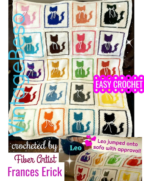 INSTANT Download • PDF Pattern • Cat Afghan Crochet PATTERN • Cat Pillow Pattern • Vintage Easy Crochet Single Crochet Kitty Cat Blanket
