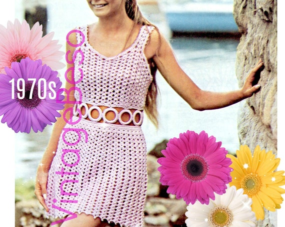 Dress Crochet Pattern • Vintage 1970s Party Dress Crochet Pattern • Summer • Midriff • Crochet Pattern • Sexy Dress • Watermarked PDF Only